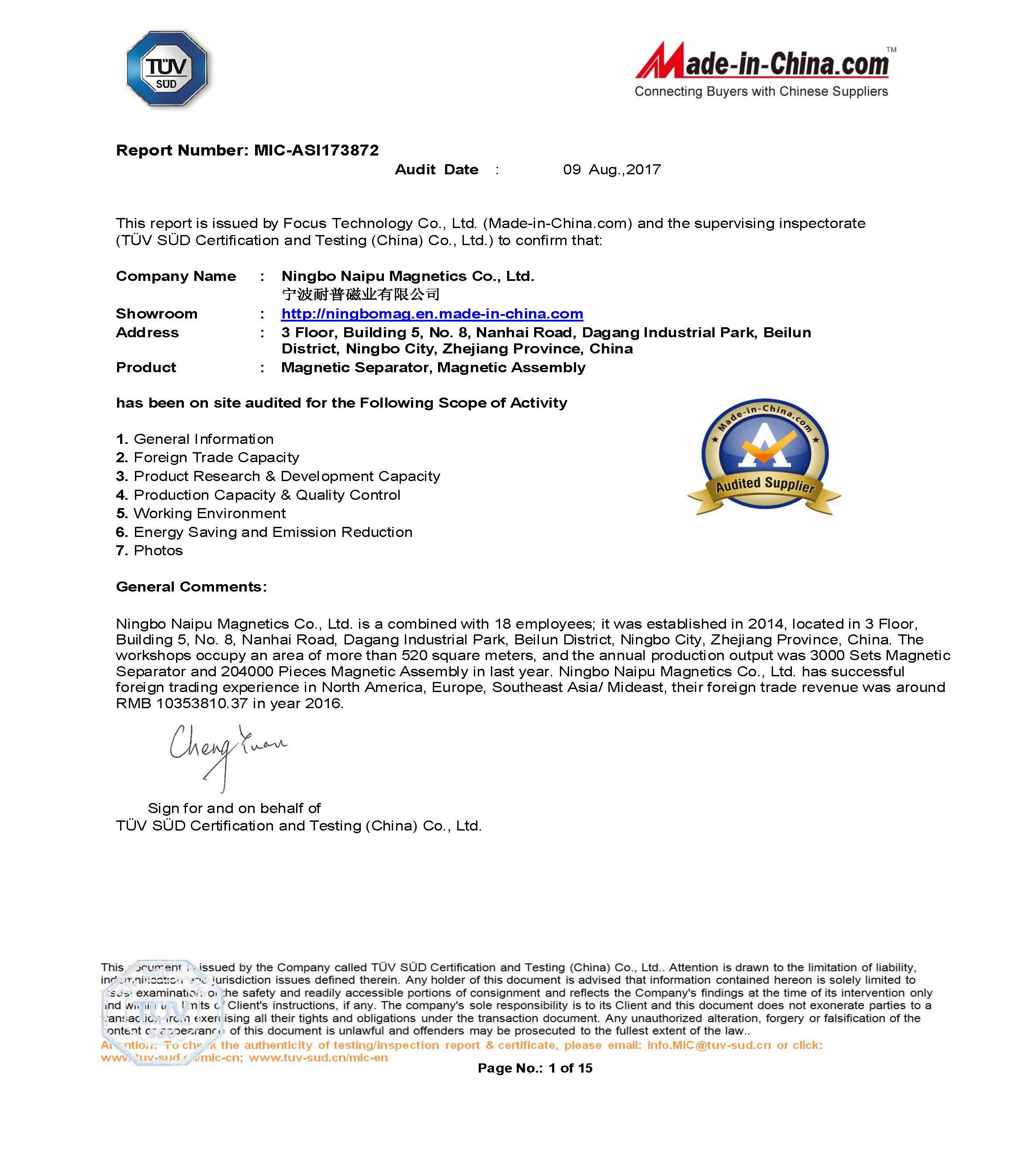 TÜV SÜD Certification